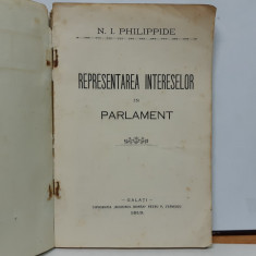 Philippide, Reprezentarea intereselor in Parlament, Galati, 1913