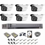 Sistem complet supraveghere 5 MP Hikvision Turbo HD cu 6 camere Bullet IR 40 m alimentatori cabluri mufe HDD 1Tb vizualizare pe internet