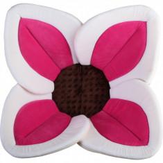 Cadita de plus si salteluta de joaca Lotus BloomingBath, alb/roz