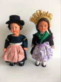 *Lot 2 papusi etno vintage West Germany cu cheita, anii '50, Dancing Doll,