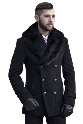 Palton barbati negru cu guler de blana B135 foto