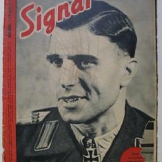 REVISTA ' SIGNAL ' , EDITIE IN LIMBA ROMANA , NUMARUL 1 DIN APRILIE 1943 , PREZINTA DESENE CU CREIONUL PE COPERTA *