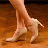 Pantofi dama stilleto marimea 36, Bej, Cu toc