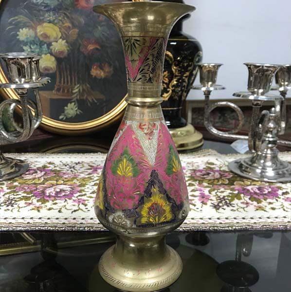 Vaza Vintage din Alama Pictata Manual Model Floral