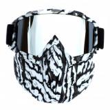 Masca protectie fata plastic dur + ochelari ski, lentila argintie, model MCMFI01