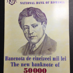 BNR - Pliant - Bancnota de 50.000 lei