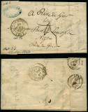 France 1847 Rare Stampless Cover + Content Bourgoin Rive de Gier D.1073