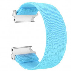 Curea textila elastica, compatibila Garmin Vivomove HR, telescoape Quick Release, Uranian Blue