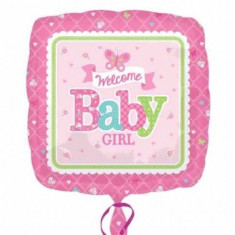 Balon botez folie metalizata 43cm Baby Girl Butterfly