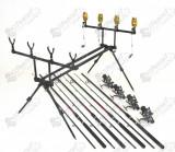 KIT 4 lansete Fl Power Plus 2.7m cu 4 mulinete Crap GKFL6000 si rodpod full