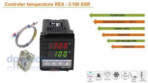 Termostat electronic Controler temperatura PID 0-400 REX-C100 cu sonda K si SSR