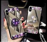 Husa oglinda cu inel si pietricele pt. iphone SE 2020 , 7, 8, 7 Plus, 8 Plus , X