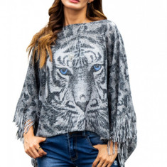 Y745-18 Bluza tip poncho, model animal print, cu franjuri