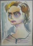 Portret femeie// acuarela pe hartie