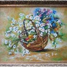 Tablou / Pictura cos cu flori semnat Cimpoesu, Ulei, Realism