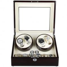 Cutie pentru intors ceasuri automatice iUni, Watch Winder 4 + 6 spatii depozitare Mahon-Crem