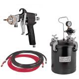 Raider - RD-PT02 - Pistol de vopsit pentru compresor, 2 mm, 10 l, vas din metal, reglare debit vopsea, reglare debit aer