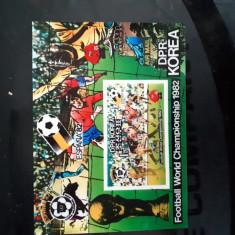 Timbre  korea 3 d fotbal spania  1982 colita plus seria, Nestampilat