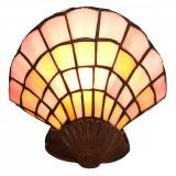 Veioza cu baza din polirasina maro si abajur din sticla Tiffany 25 cm x 20 h, Clayre & Eef