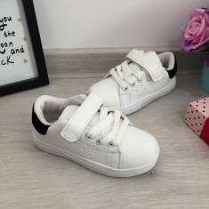 Adidasi albi cu scai tenisi pantofi sport unisex fete baieti 28