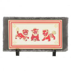 Placheta ( placa ) cu cei trei gardieni celesti, cei trei lei sau cei trei gardieni divini - pe piatra