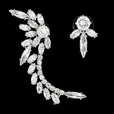 Cercei placati cu Aur 18K si Diamante, Asymmetric Platinum