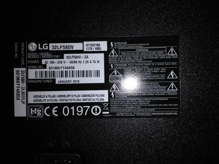 Televizor Smart LED LG, 80 cm, 32LF580V, Full HD