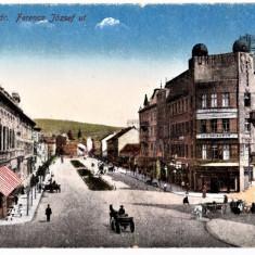 Cluj Kolozsvar str. Ferencz Jozsef,actuala Horea spre gara,animata,carute