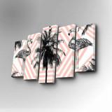 Cumpara ieftin Tablou decorativ pe panza Art Five, 5 Piese, 747AFV1271, Roz