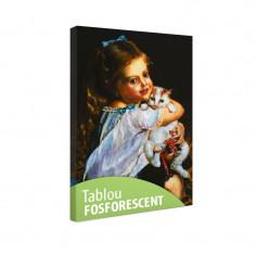 Tablou fosforescent Fetita cu pisica