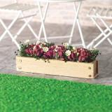 Jardiniera din lemn natur cu flori - miniatura papusi