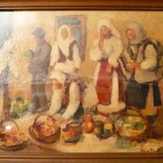 Tablou Dumitru Ghiata-Zi de targ, Portrete, Ulei, Impresionism
