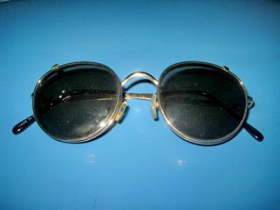 5934-Ochelari Vintage dubli, rama metal, geam sticla. foto