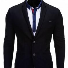 Sacou pentru barbati negru casual slim fit cu buzunare aplicate elegant inchidere doi nasturi M57
