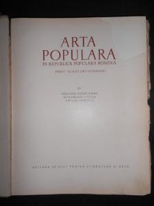 TANCRED BANATEANU, GHEOGHE FOCSA - ARTA POPULARA. PORT, TESATURI, CUSATURI  1957