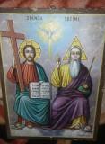 ICOANA VECHE Sfanta Treime,pictata pe lemn semnata P.ROSCA,pictura veche,T.GRAT