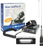 Kit Statie radio CB Midland Alan 100 + Carcasa 1DIN + Antena ML145 fara cablu