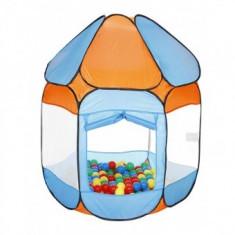 Cort de joaca cu 250 bile Fun Time Bath of Balls blue