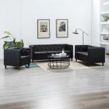Cumpara ieftin 3 piese Set canapea, negru, tapițerie piele artificială