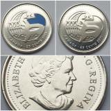 Set 2 monede 25 cents 2011 Canada, Orca, unc, varianta color & normala, America de Nord