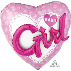 Balon botez folie metalizata 81 x 81 cm Baby Girl Multi Balloon