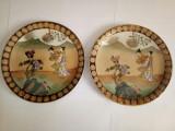 Pereche farfurii/platouri vechi, Satsuma, pictate manual
