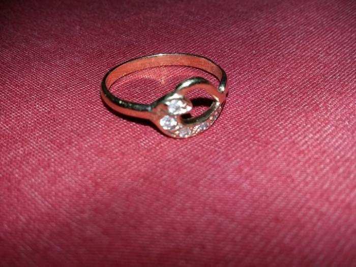 inel vechi aur 14k model superb,inimioare,superb,marcat si verificat,T.GRATUIT