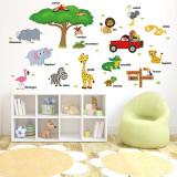 Cumpara ieftin Sticker decorativ perete Giftify Safari Park cu animale pentru camera copiilor