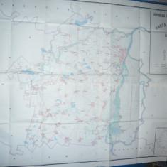 Harta mare a Judetului Braila 1986 ,dim.=134x106cm  RSR Inst. Geodezie si Org