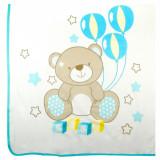 Paturica bebe din bumbac, model ursulet, 80×90 cm, multicolor