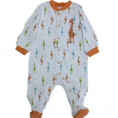Salopeta / Pijama bebe cu girafe Z53, 1-2 ani, 1-3 luni, 12-18 luni, 3-6 luni, 6-9 luni, 9-12 luni, Alb