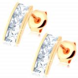 Cumpara ieftin Cercei din aur 14K - bandă lată încrustată cu zirconii pătrate, transparente