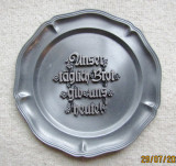 "Placa de zinc cu citat din ""Tatal Nostru"".Litere din germana veche."