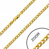 Lanț din aur 585 - zale ovale unite în serie împodobite cu proeminențe, 450 mm